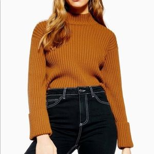 Topshop Knit Ribbed Sweater Mock Neck Cropped NWT